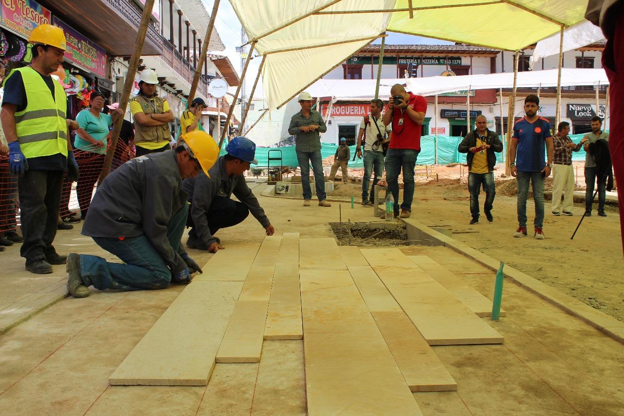 Este será el piso que será instalado en el nuevo Parque Principal de La Ceja