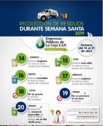 Atentos a los cambios en recolección de basuras en La Ceja esta Semana Santa