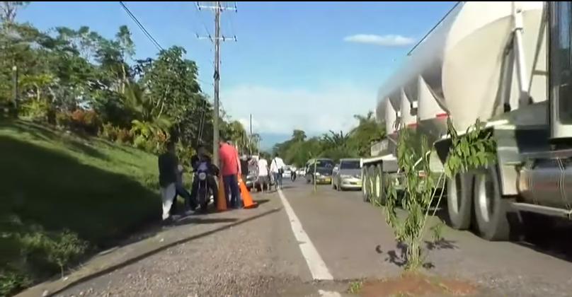 En forma de protesta siembran plantas en la autopista Medellín – Bogotá