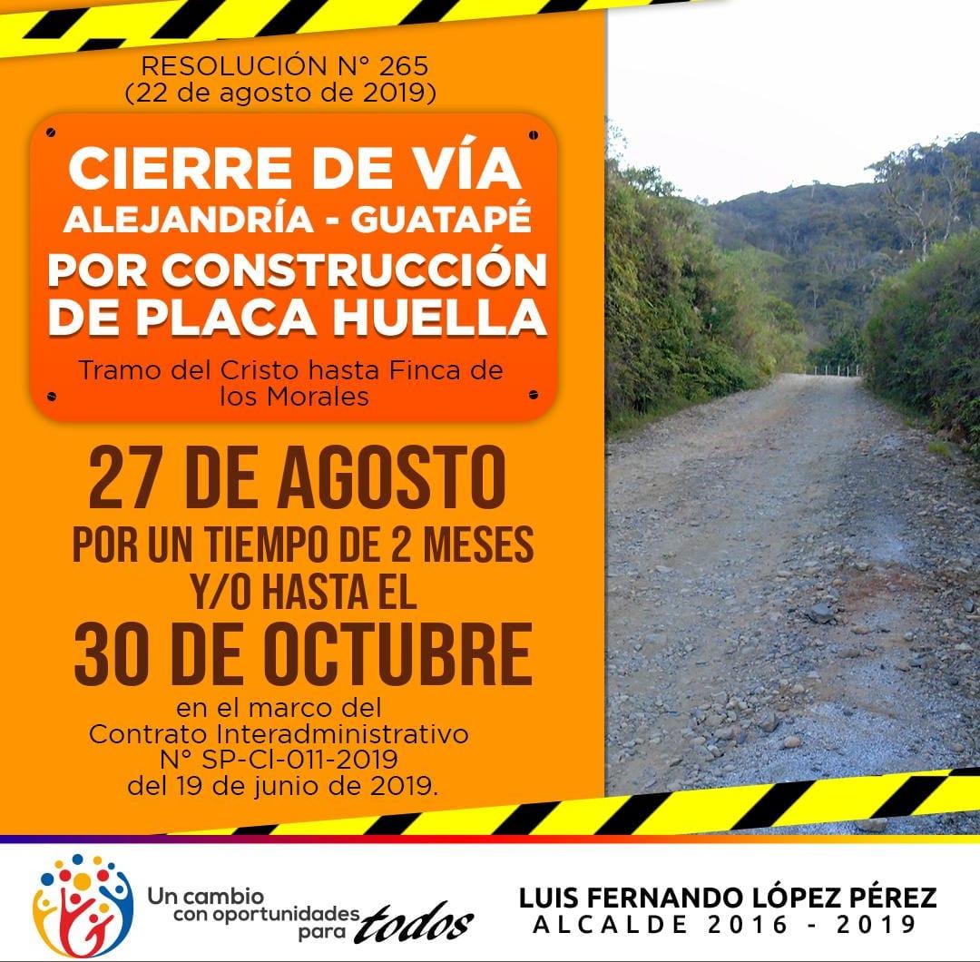 Se empezó la construcción de Placa Huella en la vía Alejandría – Guatapé