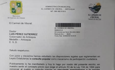 El Carmen solicita no hacer parte de Consulta Popular para Aérea Metropolitana