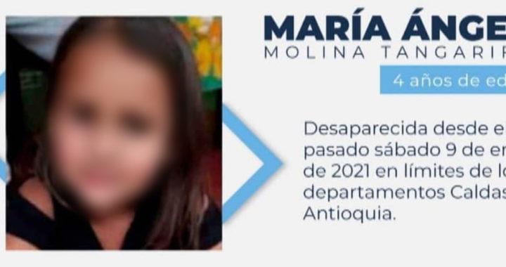 Hallan el cuerpo de María Ángel, la niña raptada el fin de semana entre los municipios de Abejorral y Aguadas