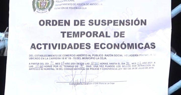 Por segunda vez cierran bar en La Ceja por incumplir protocolos de bioseguridad