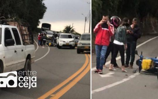 La Ceja: Movilidad reducida hacia Rionegro, por accidente de tránsito.