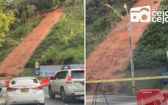 Cerrada vía las Palmas (carril descendente) por derrumbe.