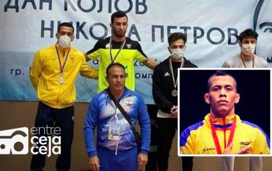 ¡Júbilo en La Ceja! Dicther Hans Toro ganó medalla de plata en Bulgaria.