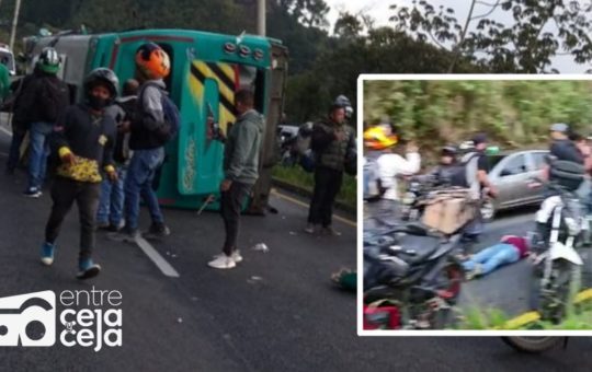 28 heridos dejó volcamiento de un bus en la vía Palmas.
