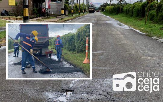 Así va el mantenimiento de la vía San Nicolás en La Ceja.