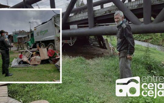 Guarne: Autoridades desalojaron a un anciano que vivía debajo de un puente.
