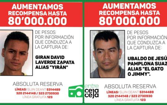 ¡Millonaria Recompensa! $ 80 millones por información de «Yiran» y «El Gato» los mas buscados de Rionegro.