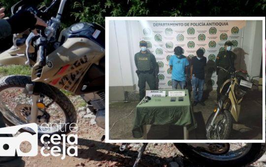Guarne: dos capturados y un aprehendido por robar motocicleta y portar un arma de fuego.